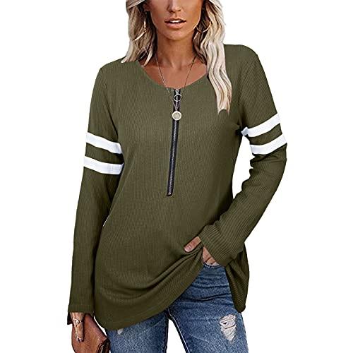 Blusa de manga larga con cremallera y media tapeta para mujer con cuello en V, verde, L