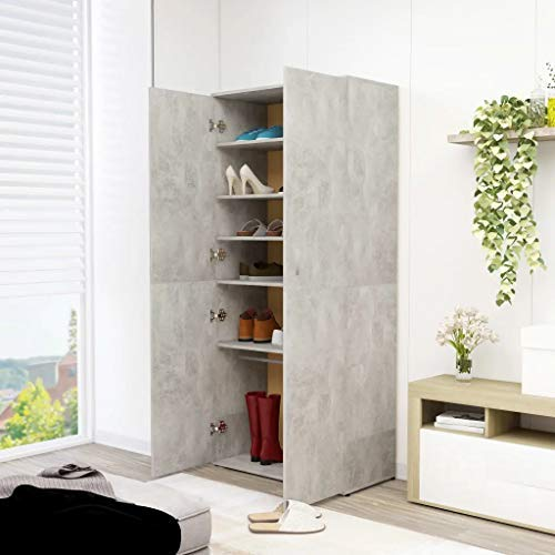 Cikonielf - Zapatero de madera aglomerada, 80 x 39 x 178 cm, mueble zapatero con 2 puertas, 6 estantes y una barra colgante para la entrada de dormitorio, gris cemento