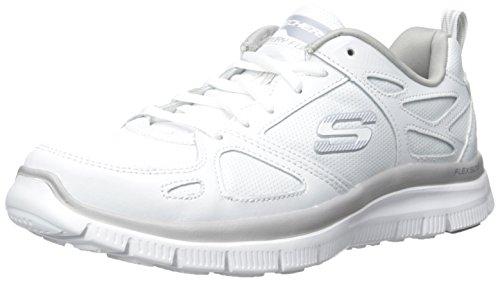 Scarpe Skechers Sport per uomo in pelle e sintetico bianco con memory foam, Wht, 41