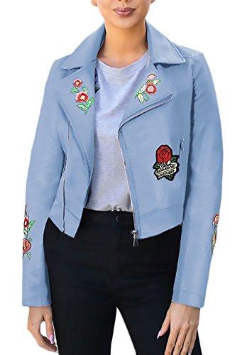 HX fashion Damen Jacke Motorrad Vintage Blumenmuster Blumenstickerei Herbst Winter Langarm Classic Revers Mit Reißverschluss Schlank Kurz Pu Kunstleder Lederjacke Bikerjacke Outwear Kleidung