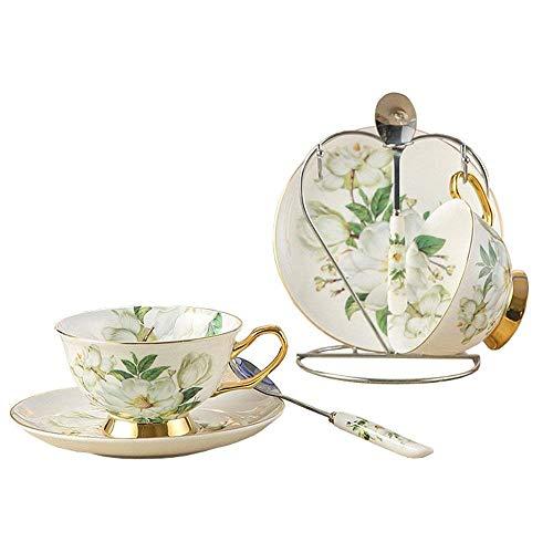 ufengke China De Hueso De Ceramica 2 Juegos Taza De Te Taza De Cafe, Camelia, Blanco Y Verde