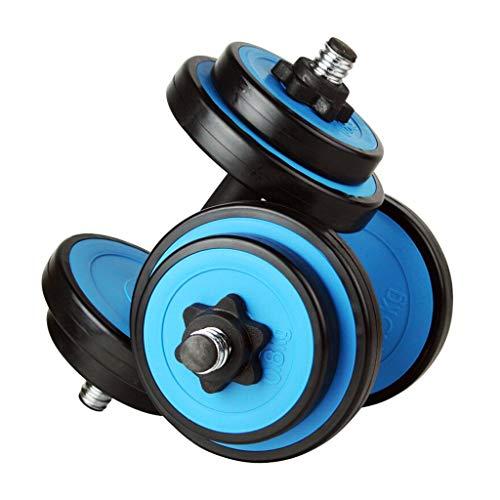 Mancuernas Cubierto de caucho de protección Pesas 10kg un par de mancuernas desmontable los deportistas aparatos de ejercicios adecuado for el hogar privado gimnasia (azul + Negro) Mancuernas de ejerc