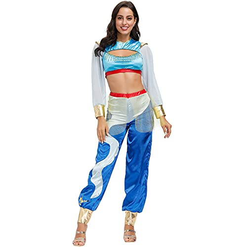 YIANG Disfraces de Halloween Cosplay como Aladdin Lámpara Mágica Jasmine Princess Traje Halloween Cos Disfraces de Halloween L