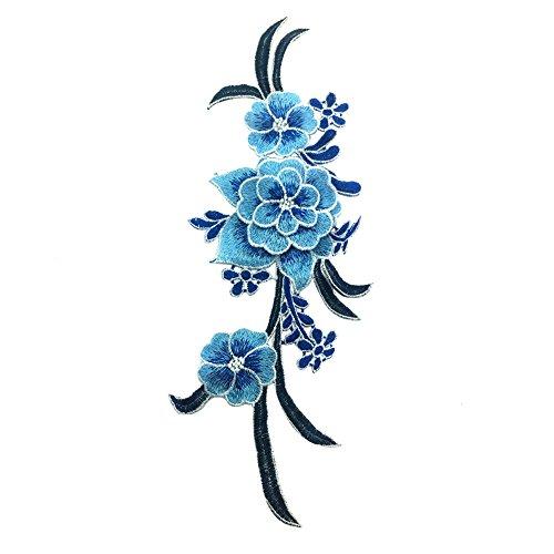 MoGist - Toppa adesiva in stile nazionale con motivo floreale, ricamata, ricamata, ricamata, ricamo, tessuti, vestiti, giacche, magliette, jeans (azzurro)