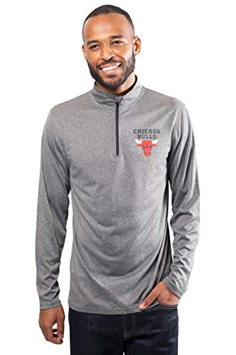 Ultra Game NBA Chicago Bulls Mens Quarter Zip Pullover Long Sleeve Tee, Heather Charcoal19, Small