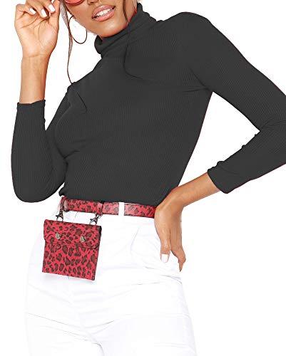 Re Tech UK - Damen Rollkragenpullover - langärmlig - gerippte Baumwolle - einfarbig - Schwarz - L/XL (44/46)