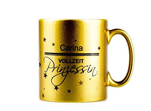 True Statements Tasse Dein Name - Vollzeitprinzessin - personalisierte Kaffeetasse/Teetasse mit Namen als Geschenk für Freundin oder Frau - Farbe Gold