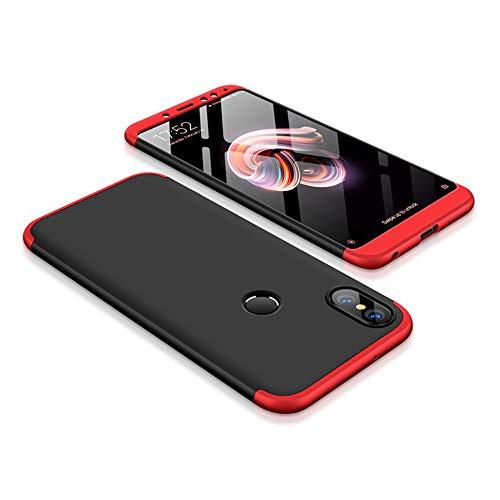Kit Capa Capinha Anti Impacto 360 Para Xiaomi Redmi Note 5 Tela 5.99- Case Acrílica Fosca Acabamento Macio Com Película De Vidro Temperado - Danet (Preto Com Vermelho)