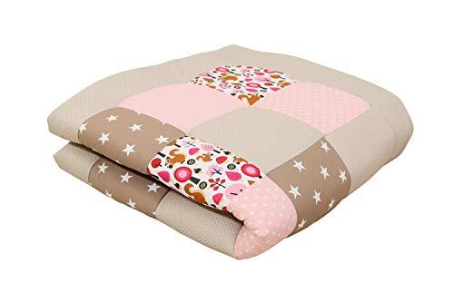 ULLENBOOM ® Baby Krabbeldecke 120x120 cm gepolstert Sand Eichhörnchen (Made in EU) - Krabbeldecke für Baby mit 100% ÖkoTex Baumwolle, ideal als Babydecke & Spieldecke
