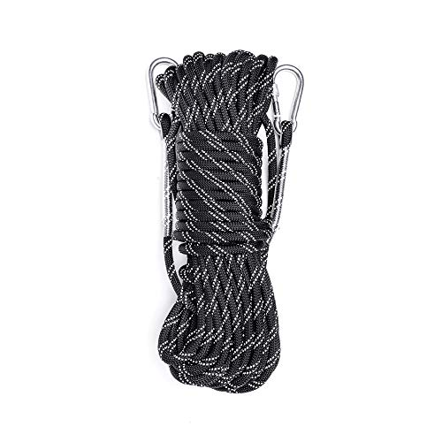 Static Reflective Outdoor Rock Climbing Rope, Tree Climbing Gear for Outdoor Activities, 10mm Heavy Duty Mountain Equipment & 30m(98 ft) Emergency Fire Safety Braided Ropes