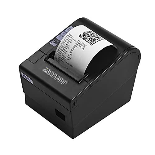 Fesjoy Impresora de Recibos, 80 mm USB Recibo térmico POS Impresora Auto Cortador Impresora de Alta Velocidad Impresión Clara Compatible con ESC/POS Comandos de impresión para Tienda de supermercado