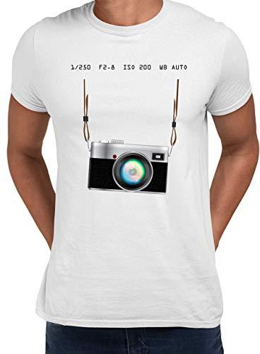 Camiseta de manga corta para cámara, diseño de nostalgia fotógrafo, color blanco y gris Blanco blanco 54