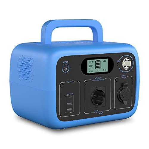 POWEROAK 300Wh tragbares Kraftwerk mit LiFePO4-Akku 300W Reine Sinus-Wireless-Ladebatterie-Backup für Notfälle im Freien/Camping/Ausfall (Zwei Wechselstromsteckdosen, DC12V, USB-C, LED-Beleuchtung)