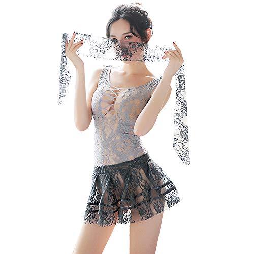YOMORIO Womens Micro Bikini Set Sexy Secretary Costume Eyelash Lace Chemise Role Play Lingerie