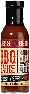 JBs Ghost Pepper BBQ Sauce - 14 oz JB's Best Sauces- W/ Craft Brewed Ale- All Natural Barbeque- Chefs Grilling uses Marinade- Dips- Glaze for Beef- Chicken- Pork- Fish (JBGP14)