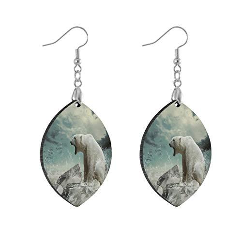 Watertrop - Orecchini pendenti da donna, con orso polare, stile boho, per ragazze e adolescenti, colore: Foglia, cod. klgifjdnv840