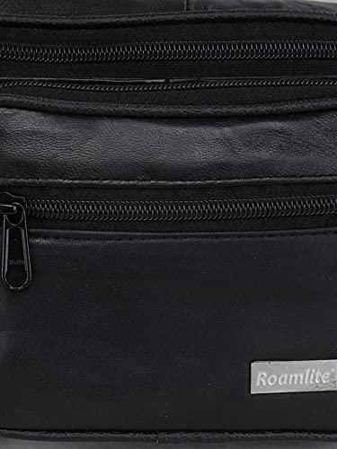 K London Stylish Real Leather Black Waist Bag Elegant Style Travel Pouch Passport Holder with Adjustable Strap(1276_blk_Roam)
