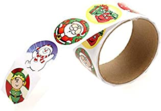 Hemobllo 2 Rolls Christmas Cartoon Stickers Self Adhesive Candy Bag Wrapping Stickers Decals with Round Snowman Santa Part...