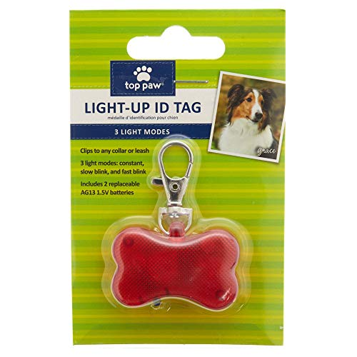 TOP PAW Light-Up Flashing Pet Safety ID Tag