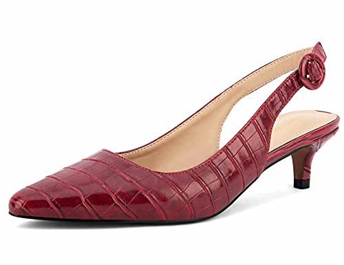 Greatonu Zapatos de Tacón Rojos Casuales Cómodos de Bodas y Fiestas para...