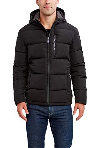 Nautica Men's Water Resistant Hooded Parka Jacket, Black, Large
