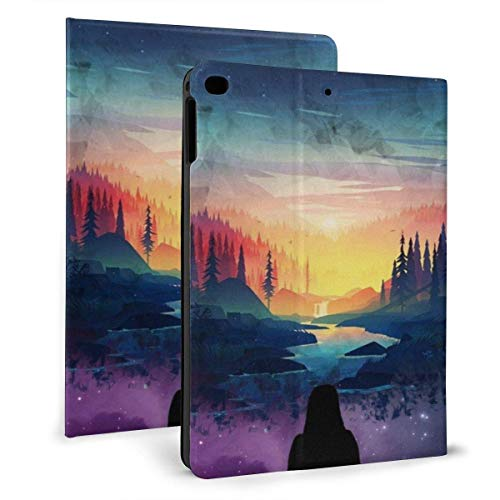 liukaidsfs Ipad case River, Girl, Silhouette, Forest, Scenic, Stars Slim Lightweight Smart Shell Stand Cover Case for iPad 7th 10.2 inch