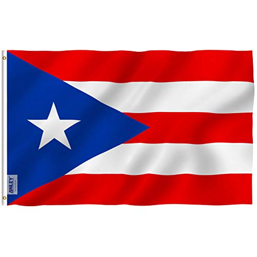 Anley Fly Breeze 3x5 Foot Puerto Rico Flag - Vivid Color and Fade Proof - Canvas Header and Double Stitched - Puerto Rican National Flags Polyester with Brass Grommets 3 X 5 Ft