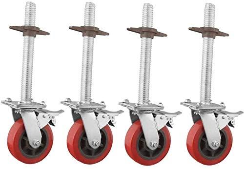 XINKONG Casters 6-in, Heavy-Duty-Gerüste Räder, Industrie Rotating Bremsverschleißbeständige Gerüstbau Einstellbare Rollen (4 PCS) (Color : Polyurethane, Size : 6in)