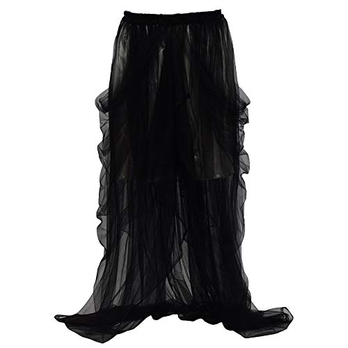 GRACEART Mujer Maxi Larga Falda Bohemia Dobladillo Grande Boda Chifón Skirt Dama de Honor Faldas (Negro Tul + Blanco Revestimiento)