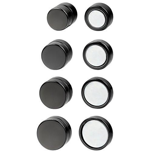 OIDEA 6mm-12mm Orecchini per Uomo Donna Orecchini magnetici in Acciaio Inox Orecchini Clip on Non Piercing Stile Hip-Hop Punk Rock Nero(4 Coppie)