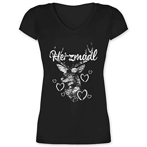 Oktoberfest Trachtenshirt Damen Party Trachten - Herzmadl mit Hirsch und Herzen - weiß - L - Schwarz - trachtenshirts Damen - XO1525 - Damen T-Shirt mit V-Ausschnitt