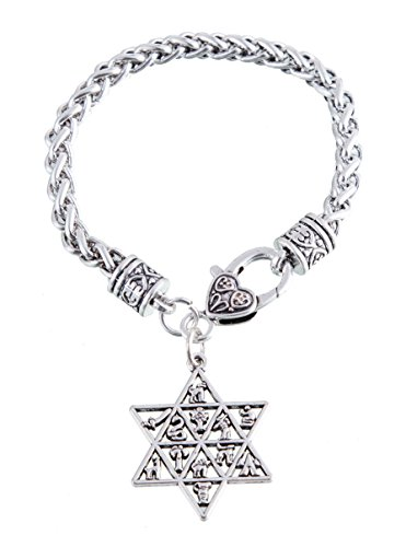Star of David 12 Tribes of Israel Charm Bracelet Lobster Clasp Wicca...
