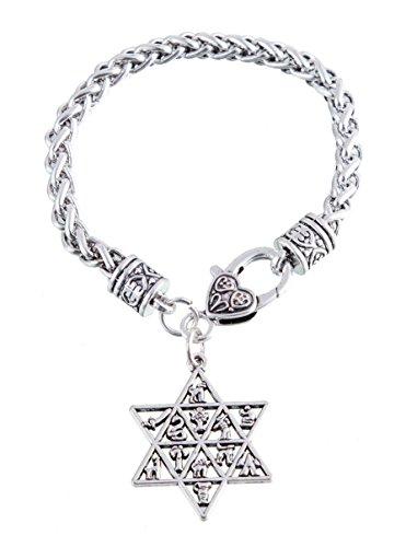 Pulsera con colgante de estrella de David y las 12 tribus de Israel, con cierre de mosquetón, amuleto de Wicca, talismán