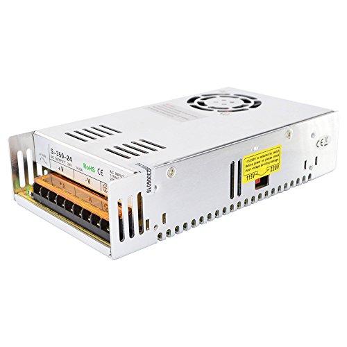 Stepperonline - Fuente de alimentación regulada universal para tira de luces LED, CCTV, radio, ordenador, etc. 350 W, 24 V, 14,6 A, 115/230 V