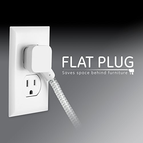 GE Designer Extension Cord With Surge Protection, Braided Power Cord, 8 ft, 3 Grounded Outlets, Flat Plug, Premium, Gray/White, 38433
