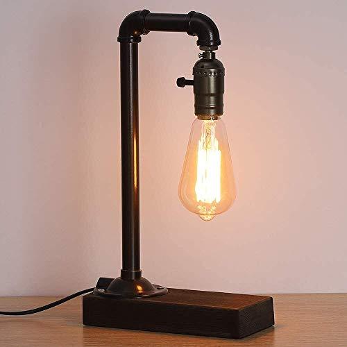 Lámpara de noche viwiv Lámpara de mesa retra de la vendimia, lámpara de punk de estilo loft industrial con la lámpara de escritorio de la tubería de la base de madera para la cama, sala de estar, pasi