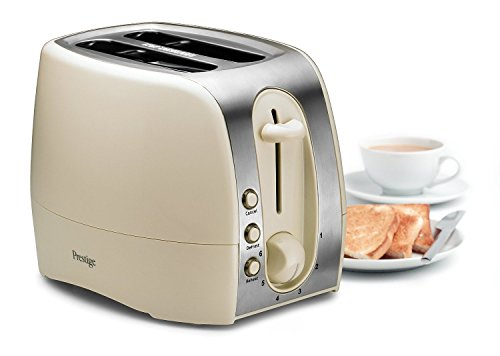 Prestige? Synergy Extra Wide 2 Slice Toaster with 6 Browning Control, Crumb Tray, Illuminated Defrost and Reheat Button - Cream