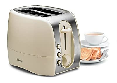Prestige® Synergy Extra Wide 2 Slice Toaster with 6 Browning Control, Crumb Tray, Illuminated Defrost and Reheat Button - Cream