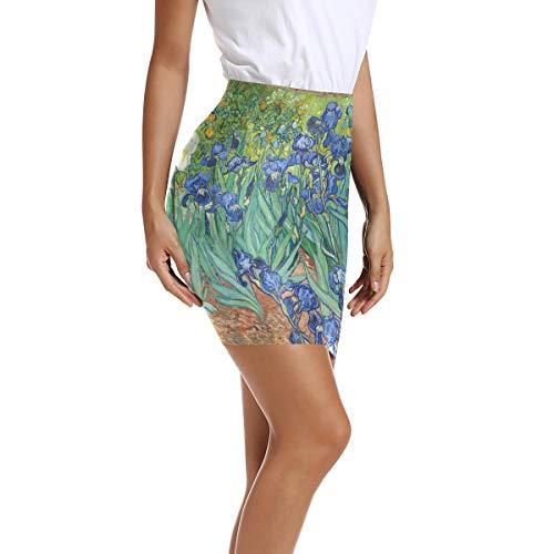 Montoj - Falda de mujer de cintura alta Bodycon Vincent Van Gogh, pintura Irises creciendo Gard Mini lápiz 1 40