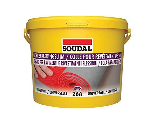 Soudal Bodenbelag-Kleber 26A für weiche Bodenbeläge wie Vinyl, Textil, PVC Linoleum Eimer 5Kg