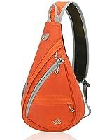 Xboun Sling Backpack Chest Shoulder Bag Crossbody Cycling Travel Hiking Daypack (Orange)