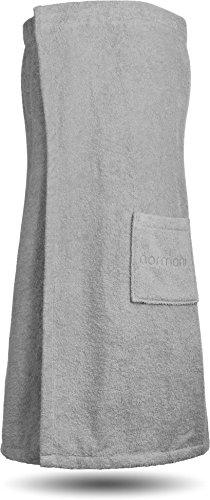 normani Saunakilt Saunatuch für Damen 100% Bio Baumwolle mit praktischem Schnellverschluss Oeko-Tex® 100 Farbe Grau