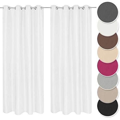 Melody Vorhang 2er Set Gardine Curtain Blickdicht Ösenschal Weiss 140x245 cm Fenster #9018