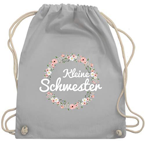 Shirtracer Geschwisterliebe Kind - Kleine Schwester Blumenkranz - Unisize - Hellgrau - kleine schwester turnbeutel - WM110 - Turnbeutel und Stoffbeutel aus Baumwolle