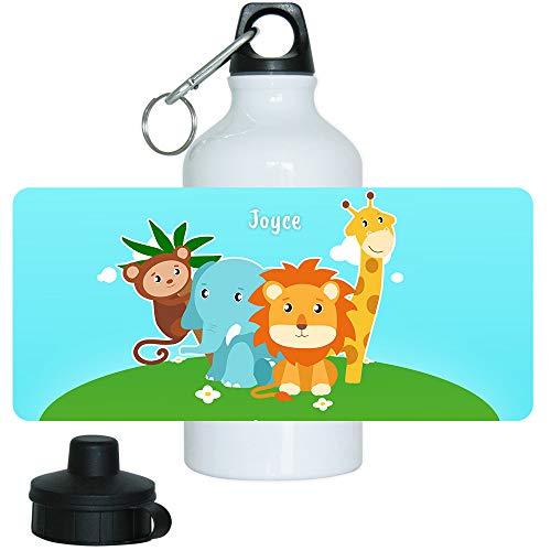 Trinkflasche mit Namen Joyce und Tier-Motiv mit AFFE, Elefant, Löwe und Giraffe für Mädchen | Motiv-Trinkflasche | Kinder-Aluflasche