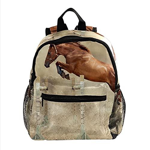 女性用ミニバックパックラップトップバッグトラベルバッグ馬のハードル 仕事、学校、屋外