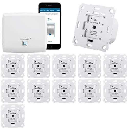 Homematic IP Rolladensteuerung Komplettset XXL für die Steuerung von 12 Rolladen. Vollständig mit Smartphone Steuerung, Zentrale, 12 Aktoren. Ideal für Hausbau oder zum Nachrüsten. Alexa kompatibel.