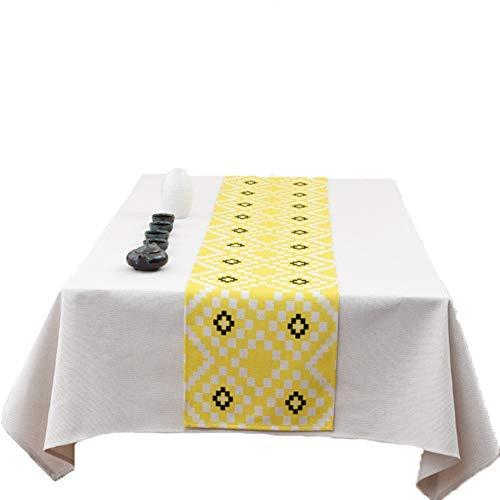 ZhangFei Mantel y Corredor de la Tabla Uno Conjunto Mesa de la Cubierta del paño Seguro de Usar para Mesa de Comedor (Color : Yellow, Size : 32 * 260cm)