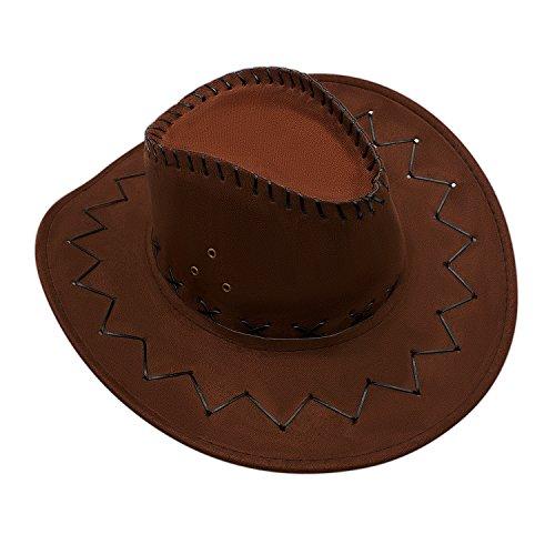 GHONLZIN GHONLZIN Cowboy Hut Cowgirl Hüte mit breiter Krempe, Unisex Kappe mit verstellbarem Kinnriemen Outdoor Hut zum Angeln, Wandern, Safari, Reisen, Sommer Sonnenschutz