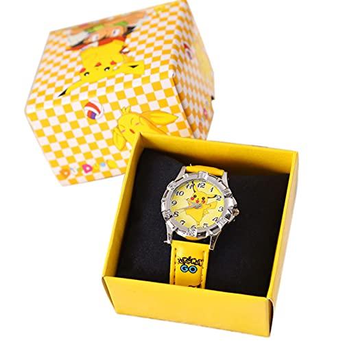 ANLKUJHF Montre-bracelet Pokémon Pikachu pour garçons et filles - Bracelet en silicone - Montre à quartz - Mini monstre - Avec boîte - Jouet d'anniversaire pour enfants
